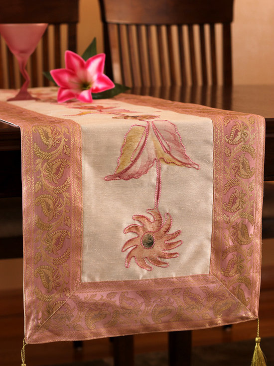 """Elegant Table Runners - Decorative """"Hand Painted"""" table runner. Pink Champagne color. Decorative Indian design."""