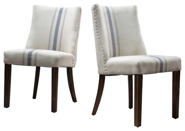 Rydel Fabric Dining Chairs (Set of 2), Blue Stripe ...