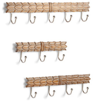 Set of Three Carved Wooden Hooks traditional-wall-hooks