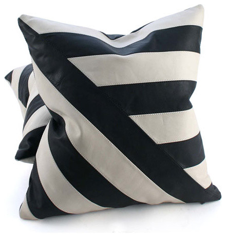 Black and White Leather Pillow contemporary pillows