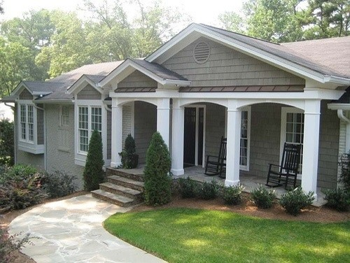 Exterior paint scheme for a painted brick ranch