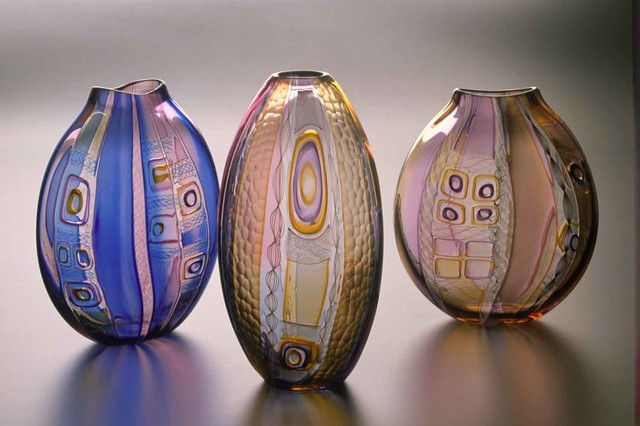 One of a Kind Hand Blown Glass Murrini Vessels contemporary-vases