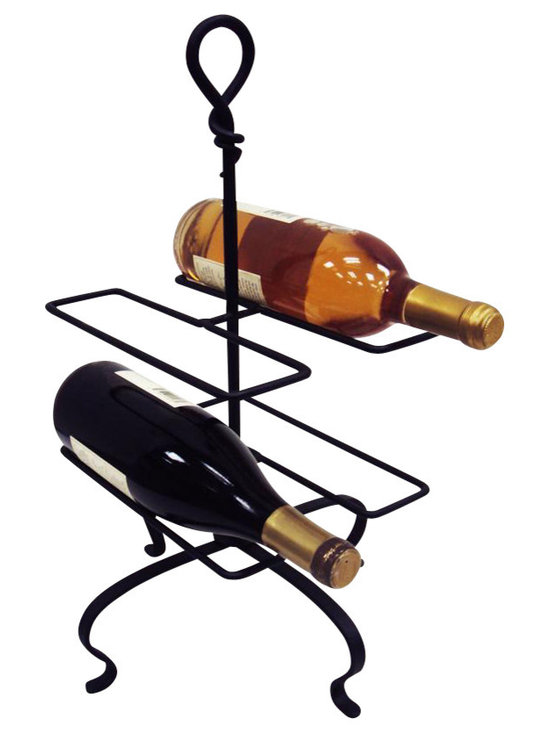 J&J Wire - Signature Knot Four Bottles Wine Holder - Wine not included. Heavy construction. Welded fabrication. Signature design forged knot. Custom forged by blacksmith. Free standing. Architectural look. Made from sturdy wrought iron. Rich black powder coated finish. Made in USA. No assembly required. 11 in. W x 11 in. D x 19 in. H (3 lbs.)Our Blacksmith has designed this custom signature hand forged knot wine bottle holder. Achieve the architectural look in any setting with this four bottle holder. This is one of our best sellers along with our matching wine glass holder. This sturdy wrought iron construction is cured under heat to produce a durable rich black powder-coat finish.