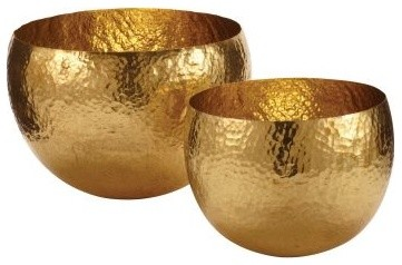 Gold Hammered Brass Bowls contemporary-serveware