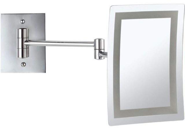 wall mounted square led 3x makeup mirror contemporary bathroom mirrors. Black Bedroom Furniture Sets. Home Design Ideas