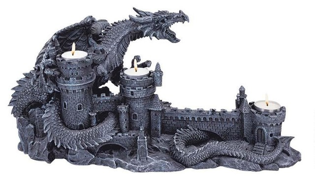 Gothic Medieval Dragon Castle Candle Holder Stand - Traditional ...