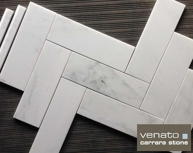 "Carrara Venato 4x12"" Marble Floor and Wall Tile traditional-tile"