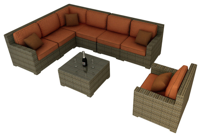 Hampton 8 Piece Outdoor Wicker Sectional Set Heather
