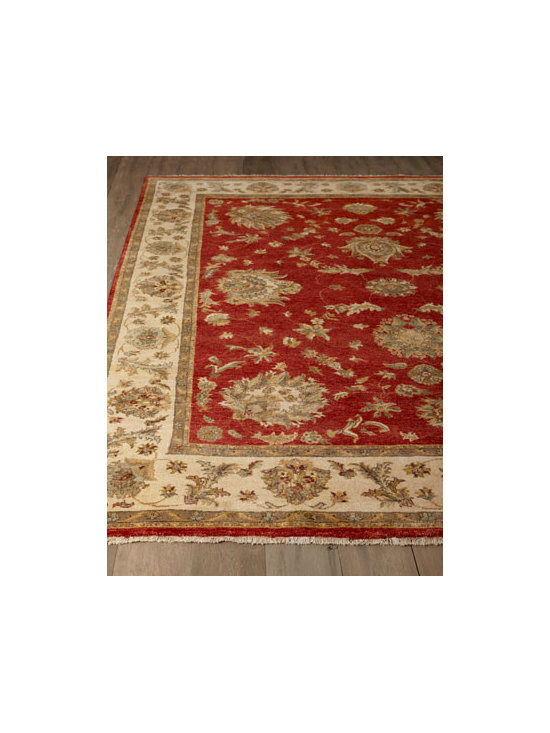 "Horchow - ""Bijou"" Rug - With its traditional Persian design and rich color, this striking rug is an elegant and sophisticated addition to any room. Hand-knotted wool pile. Cotton backing applied with latex. Sizes are approximate. Imported. See our Rug Guide for tips o..."