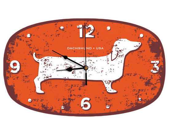 Naked Decor Dachshund USA Clock