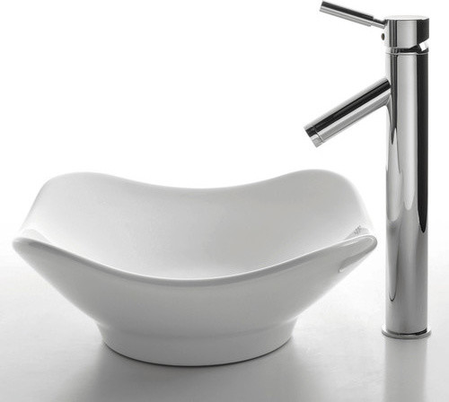 Ceramic Tulip Sink in White with Sheven Single Lever Faucet modern-bath-products