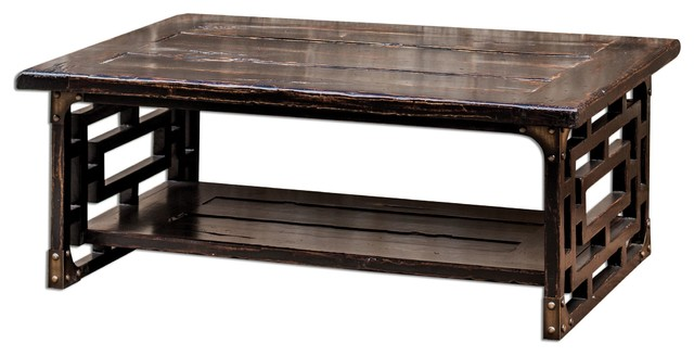 Distressed Wood Deron 48in W Mango Wood Coffee Table Asian Coffee Tables By We Got Lites