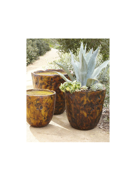 "Horchow - Three Brown Planters - A mottled earth-tone finish makes these planters ideal for displaying florals and greenery. Group them as a set or scatter them about your garden or patio. Made of fiberglass. Polyresin/stain finish. Set of three. Large, 21""Dia. x 21.5""T; medium, 18""..."