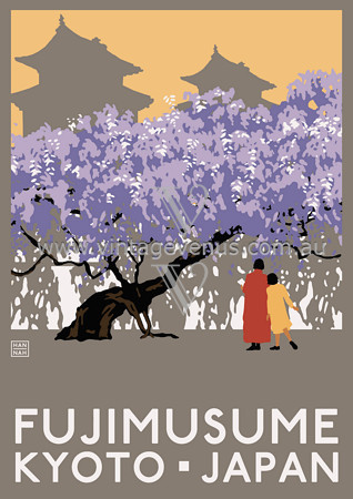 Fujimusame Kyoto Japan Japanese Travel Vintage Posters Art Prints eclectic-artwork