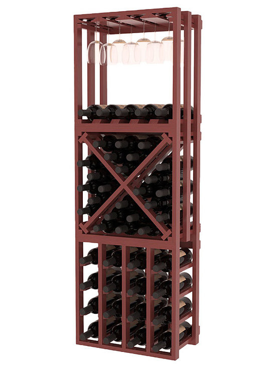 Lattice Stacking Cube - 3 Piece Set in Pine with Cherry Stain + Satin Finish - Designed to stack one on top of the other for space-saving wine storage our stacking cubes are ideal for an expanding collection. This 3-piece set comes with (1) X-Cube, (1) Stemware Cube and (1) 4 Column Cubicle. Use as a stand alone rack in your kitchen or living space or pair with more stacking cubes as your wine collection grows.