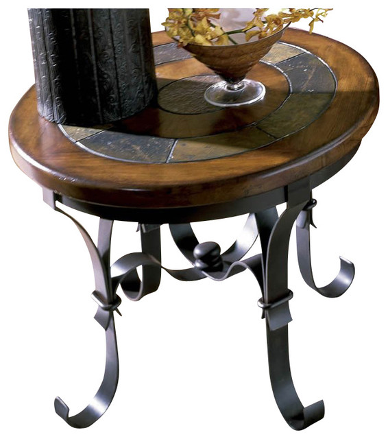 riverside stone forge round end table transitional side tables and end