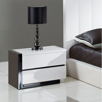trinity 2 drawer nightstand glossy white black