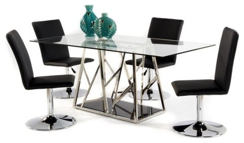 Chintaly Yolanda 5 pc. Glass Top Art Deco Dining Table Set