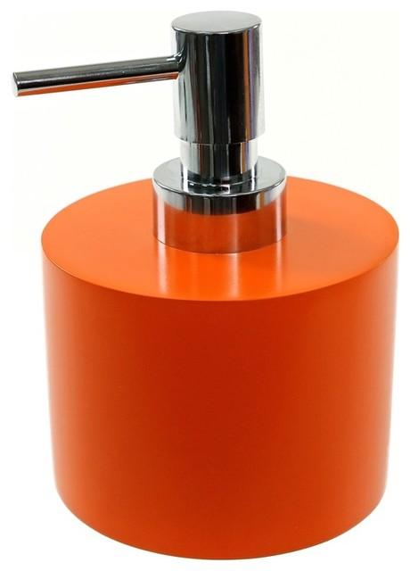 Orange short and round soap dispenser in resin for Orange toilet accessories