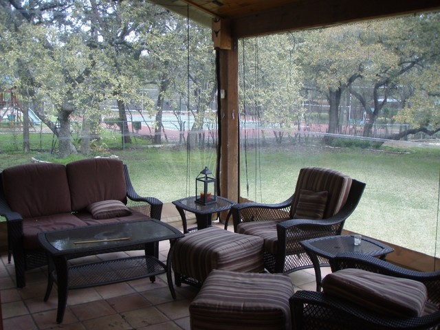 Clear Vinyl Patio Enclosure Weather Curtains Lewis Residential Project Traditional Austin