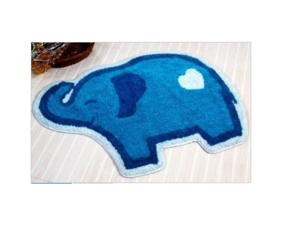Blue Elephant Washable Tufted Rug - Colourful cheerful and well-designed 100% cotton hand tufted rugs from Homescapes have been created especially for children rooms but can also be used in other rooms including bathroom. These are good quality tufted rugs and not be confused with the usual synthetic printed rugs, yet they are very economically priced.