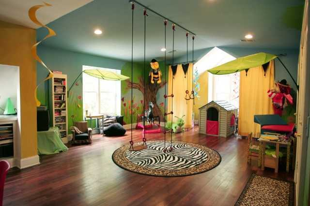 Urban jungle playroom contemporary for Jungle living room ideas