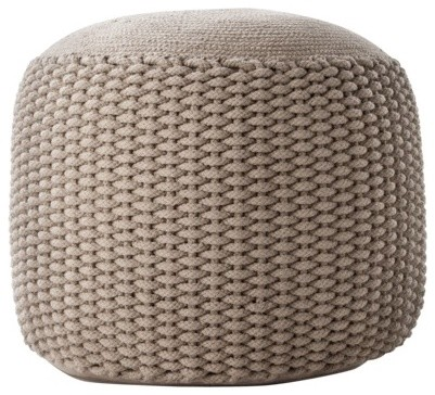 Neutral Rope Pouf Small Contemporary Floor Pillows