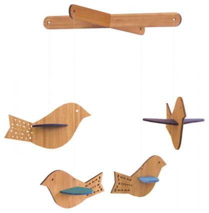 Bamboo Wool Felt Bird Mobile contemporary-baby-mobiles