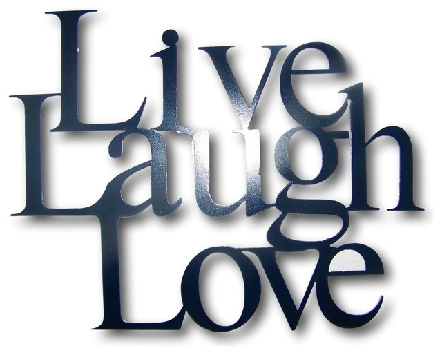 Metal Live Laugh Love Wall Hanging Decor 4 Sizes Available, Black, Small - Traditional - Wall ...