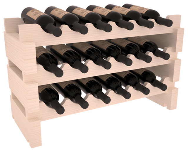 18 Bottle Mini Scalloped Wine Rack in Pine with White Wash Stain traditional-wine-racks