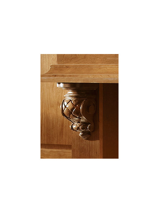 Merillat Cabinets - Woven Corbel - Woven Corbel - Carved accents like these corbels below the range hood draw the eye up with a personal expression of style.