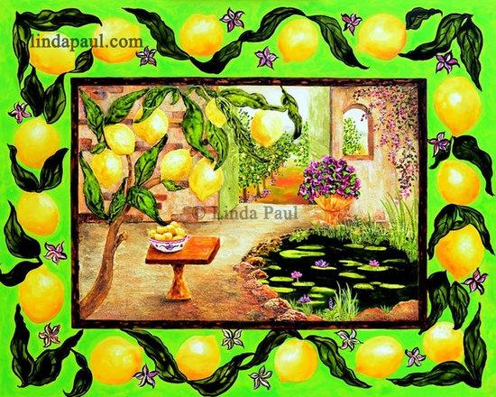 "The Lemon Tree  Original Art Painting for sale - The Lemon Tree by artist Linda Paul  Size 30"" x 24"" x 2"""