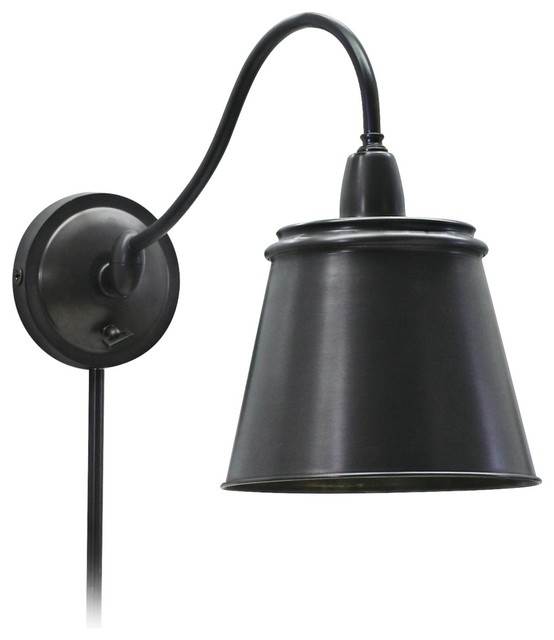 Wall Sconces Plug In Lighting : Industrial Oiled Bronze Plug-In Wall Light - Traditional - Wall Sconces
