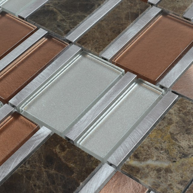 "Metal Stone Glass Mosaic Tile, 4""x4"" Sample contemporary-tile"