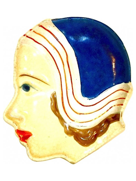 Ceramic Female Face Dish - Vintage Art Deco Ceramic Female Face  in a cloche style hat dish.