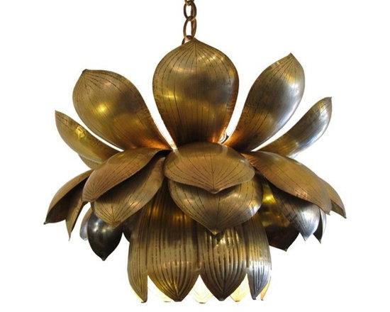 Brass Lotus Blossom Pendant Light -