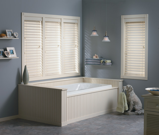 Window treatments for bathrooms bali 2 fauxwood blinds for Blinds bathroom window