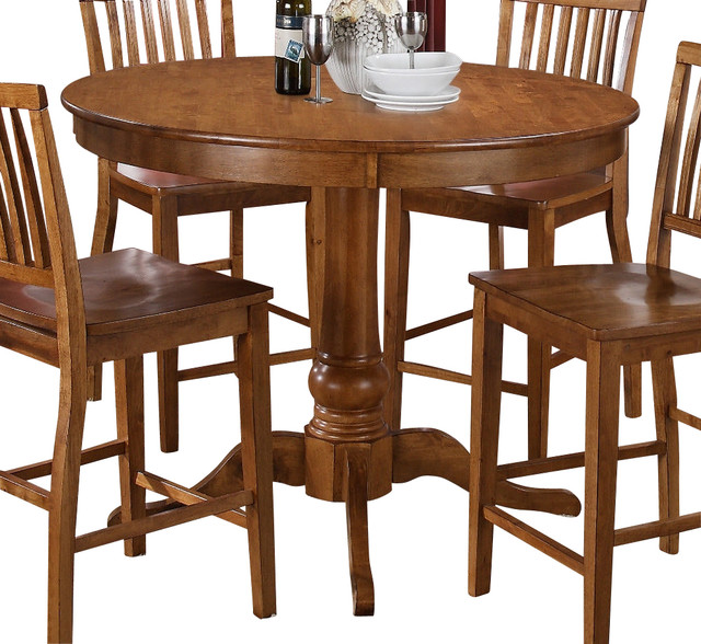 Steve Silver Candice 48 Inch Round Counter Height Table In Oak Transitional
