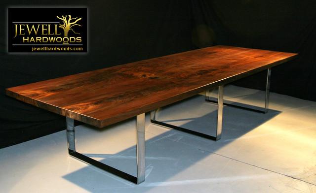"11.5"" Black Walnut Dining Table w/Chrome Legs - Modern - Dining Tables ..."