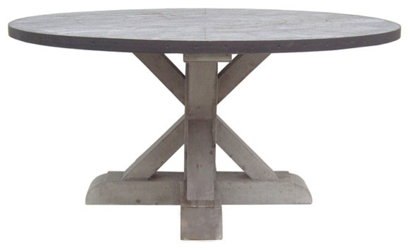 Zinc Round Table With Wooden Base Contemporary Dining