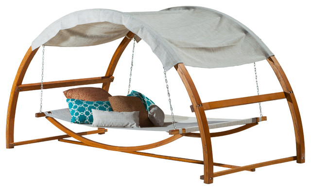 Rosalie outdoor patio chaise lounge swing bed and canopy for Outdoor lounge bed with canopy