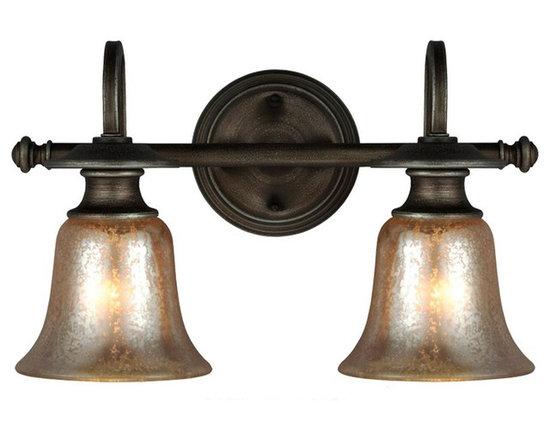 Champagne Bell Glass Bath Light 2 Light -