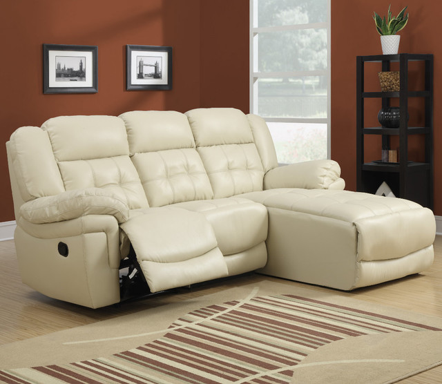 Sand bonded leather match reclining sofa lounger for Sand leather sofa