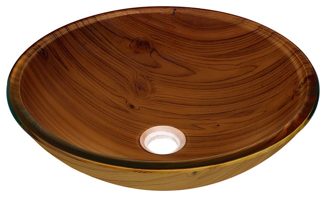 Wood Grain Glass Vessel Bathroom Sink traditional-bathroom-sinks