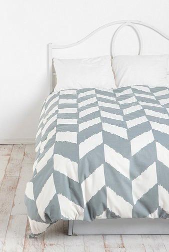 Gray Herringbone Coverlet : Herringbone duvet cover grey contemporary