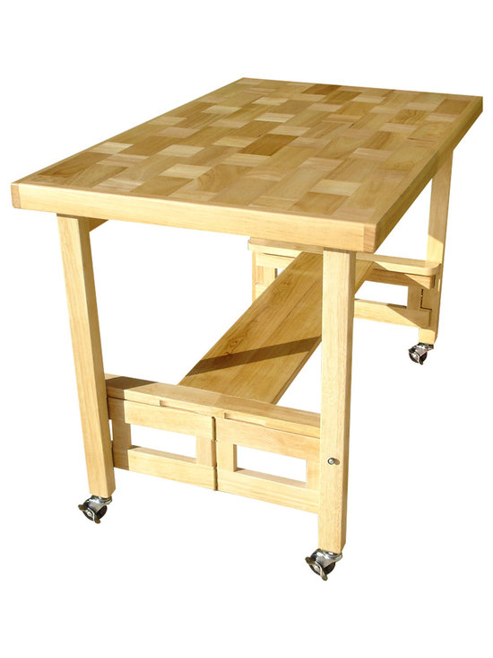 Oasis Concepts - Oasis Concepts All Wood Folding Serving Buffet/Dining Table, Natural - The Oasis Concepts All Wood Folding Serving Buffet/Dining Table features a patented precision-hinge folding mechanism, 8.77 sq. ft. work surface, and a hardwood parquet design.