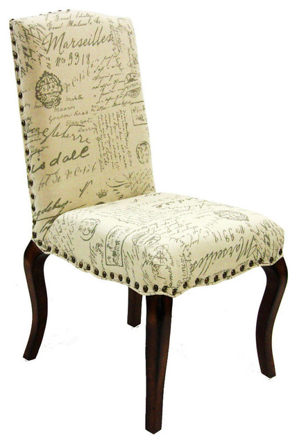 Madeleine Vintage French Fabric Script Chair Set of 2