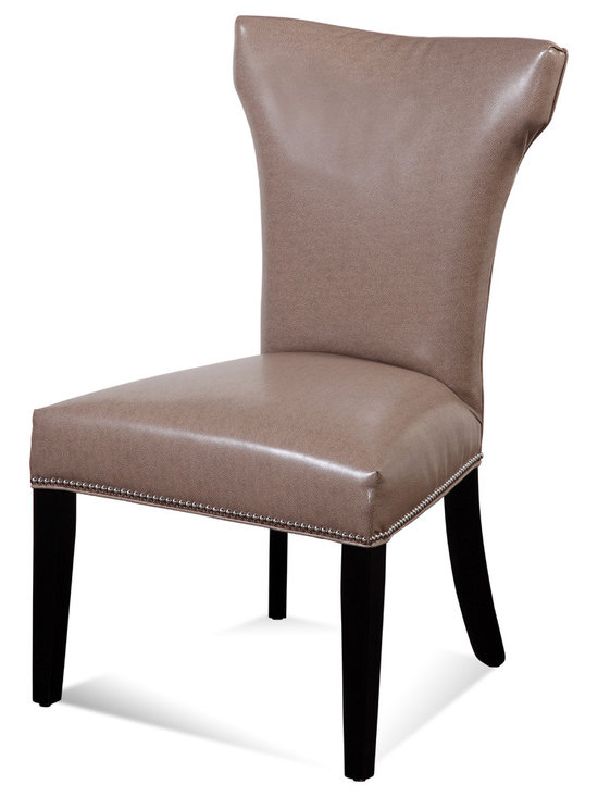 Bassett Mirror - Nelson Nailhead Parsons Chairs, Taupe, Set of 2 - Style your transitional decor with these Nelson Nailhead Parsons Chairs. Features include a taupe kleen seat, hammerhead back, solid black legs and silver nailhead trim on the front and side seat rails. Set these chairs at your dining room or kitchen table for a sleek, sophisticated look.