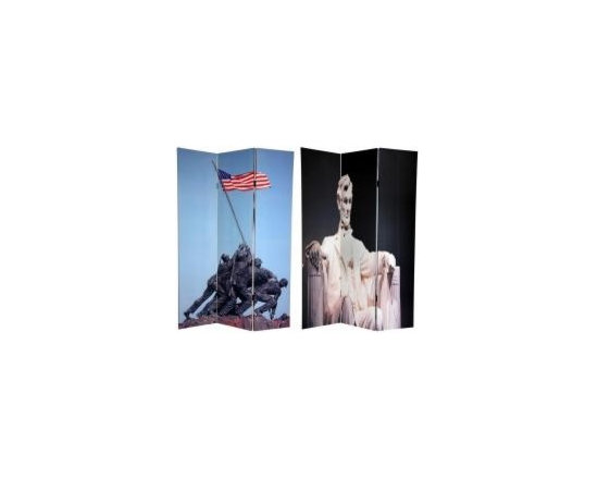 Functional Art/Photography Printed on a 6ft Folding Screen - Double sided photograph of Lincoln Memorial and monument of the raising of the flag at Iwo Jima on a 6ft folding screen room divider