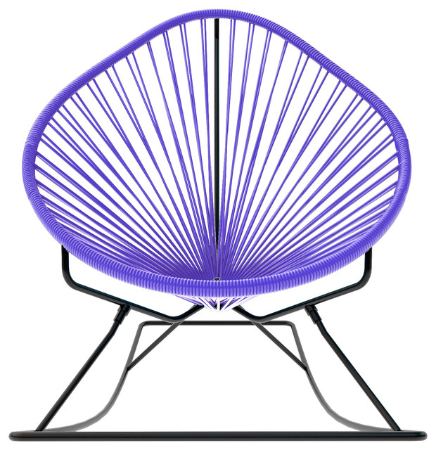 Acapulco Rocker, Purple Weave On Black Frame contemporary-rocking-chairs